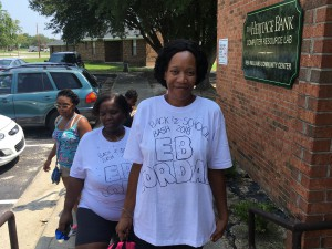 EB Jordan Resident Council President Carla Hinnant (right) and Salanda Blount, vice president, were their Back 2 School Bash T-shirts to support the party their organization threw for students preparing to return to school. The Resident Council raised the money and solicited school supply donations to help the children in their community, which is part of the Wilson Housing Authority.